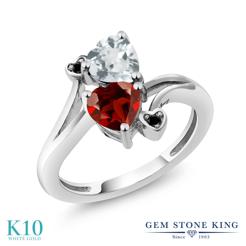 【10%OFF】 Gem Stone King 1.6カラット 天然 アクアマリン ガーネット ブラックダイヤモンド 指輪 リング レディース 10金 ホワイトゴールド K10 ダブルストーン 天然石 3月 誕生石 クリスマスプレゼント 女性 彼女 妻 誕生日