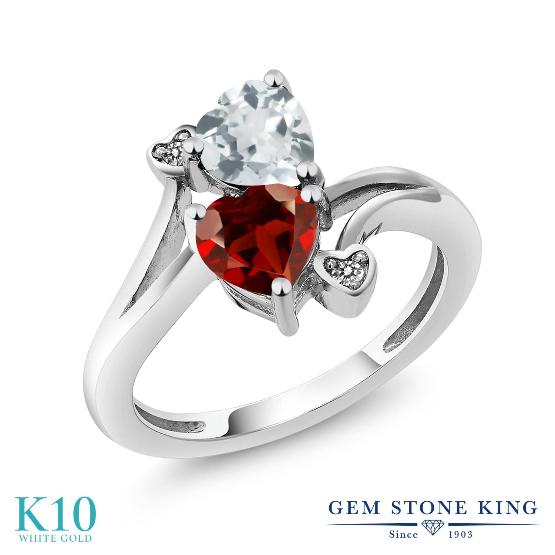 Gem Stone King 1.6カラット 天然 アクアマリン 天然 ガーネット 天然 ダイヤモンド 10金 ホワイトゴールド(K10) 指輪 リング レディース ダブルストーン 天然石 3月 誕生石 金属アレルギー対応 誕生日プレゼント