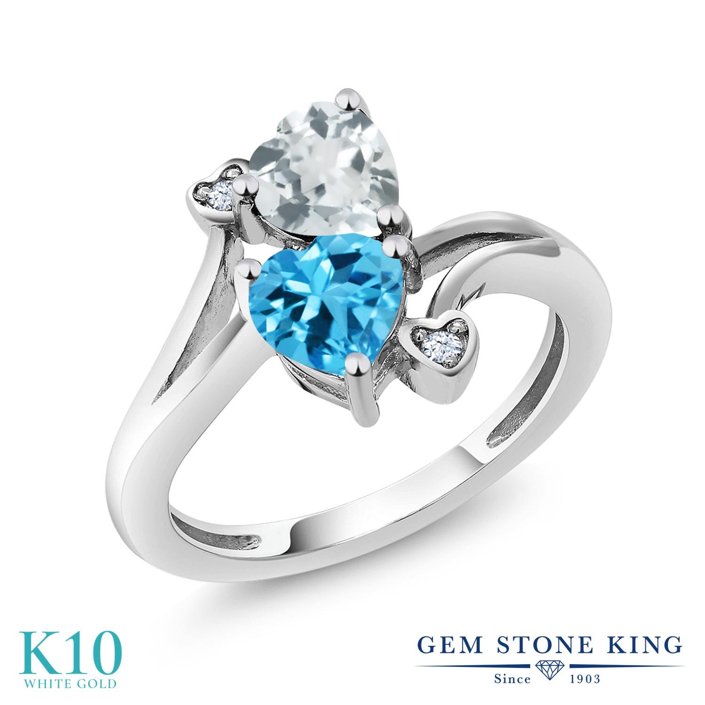 【10%OFF】 Gem Stone King 1.65カラット 天然 アクアマリン スイスブルートパーズ 指輪 リング レディース 10金 ホワイトゴールド K10 ダブルストーン 天然石 3月 誕生石 クリスマスプレゼント 女性 彼女 妻 誕生日