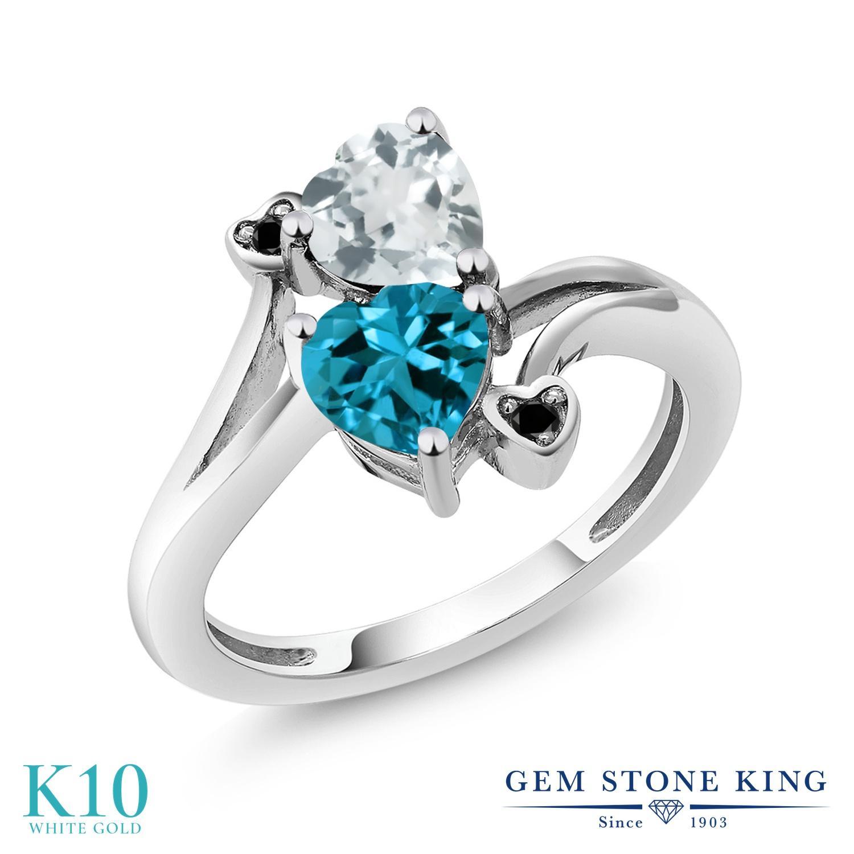 【10%OFF】 Gem Stone King 1.65カラット 天然 アクアマリン ロンドンブルートパーズ ブラックダイヤモンド 指輪 リング レディース 10金 ホワイトゴールド K10 ダブルストーン 天然石 3月 誕生石 クリスマスプレゼント 女性 彼女 妻 誕生日
