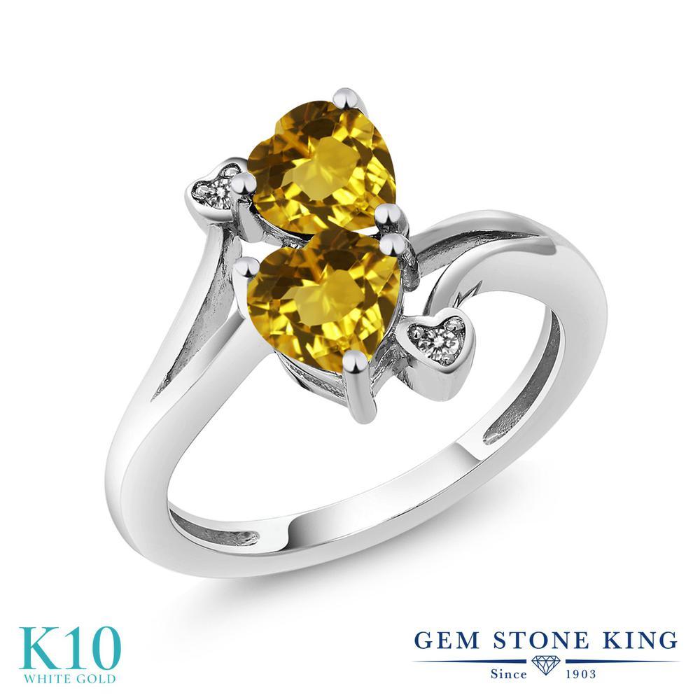 Gem Stone King 1.43カラット 天然 シトリン 天然 ダイヤモンド 10金 ホワイトゴールド(K10) 指輪 リング レディース ダブルストーン 天然石 11月 誕生石 金属アレルギー対応 誕生日プレゼント