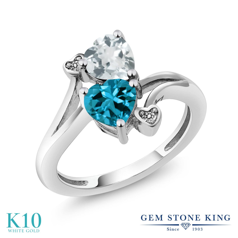 Gem Stone King 1.65カラット 天然 アクアマリン 天然 ロンドンブルートパーズ 天然 ダイヤモンド 10金 ホワイトゴールド(K10) 指輪 リング レディース ダブルストーン 天然石 3月 誕生石 金属アレルギー対応 誕生日プレゼント