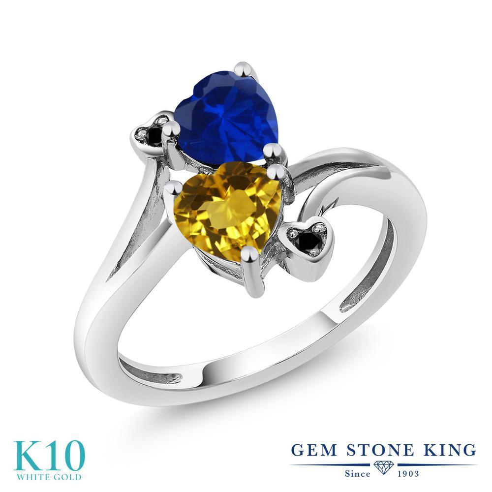 Gem Stone King 1.53カラット 天然 シトリン シミュレイテッド サファイア 天然ブラックダイヤモンド 10金 ホワイトゴールド(K10) 指輪 リング レディース ダブルストーン 天然石 11月 誕生石 金属アレルギー対応 誕生日プレゼント