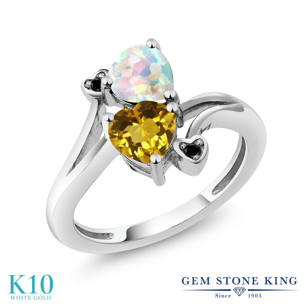 Gem Stone King 1.48カラット 天然 シトリン シミュレイテッド ホワイトオパール 天然ブラックダイヤモンド 10金 ホワイトゴールド(K10) 指輪 リング レディース ダブルストーン 天然石 11月 誕生石 金属アレルギー対応 誕生日プレゼント
