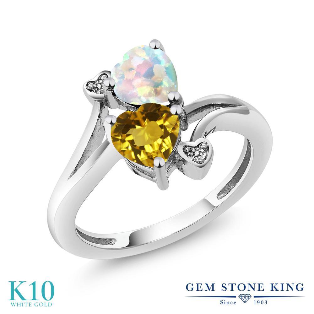 Gem Stone King 1.48カラット 天然 シトリン シミュレイテッド ホワイトオパール 天然 ダイヤモンド 10金 ホワイトゴールド(K10) 指輪 リング レディース ダブルストーン 天然石 11月 誕生石 金属アレルギー対応 誕生日プレゼント
