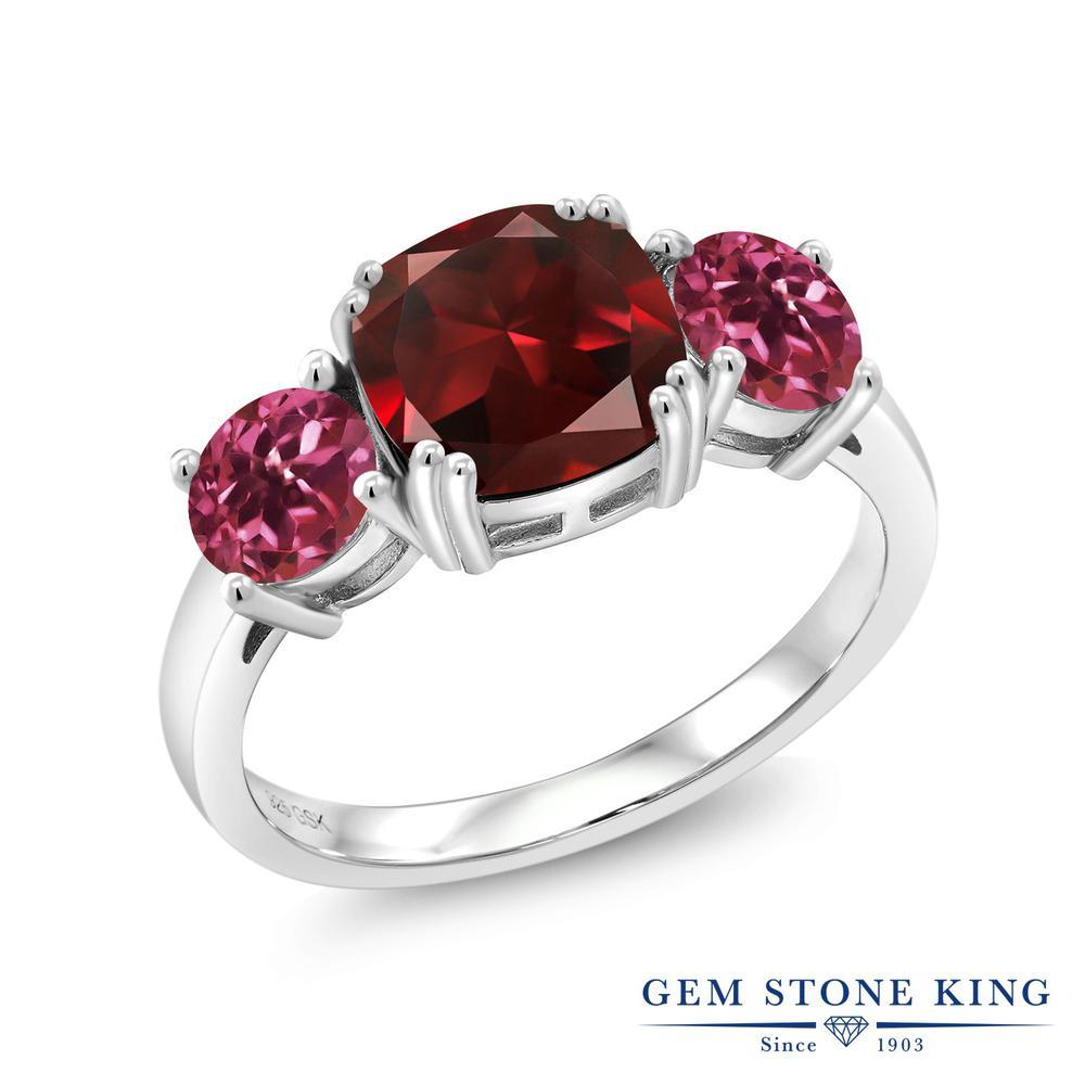 Gem Stone King 3.5カラット 天然 ガーネット 天然 ピンクトルマリン シルバー925 指輪 リング レディース 大粒 シンプル スリーストーン 天然石 1月 誕生石 金属アレルギー対応 誕生日プレゼント