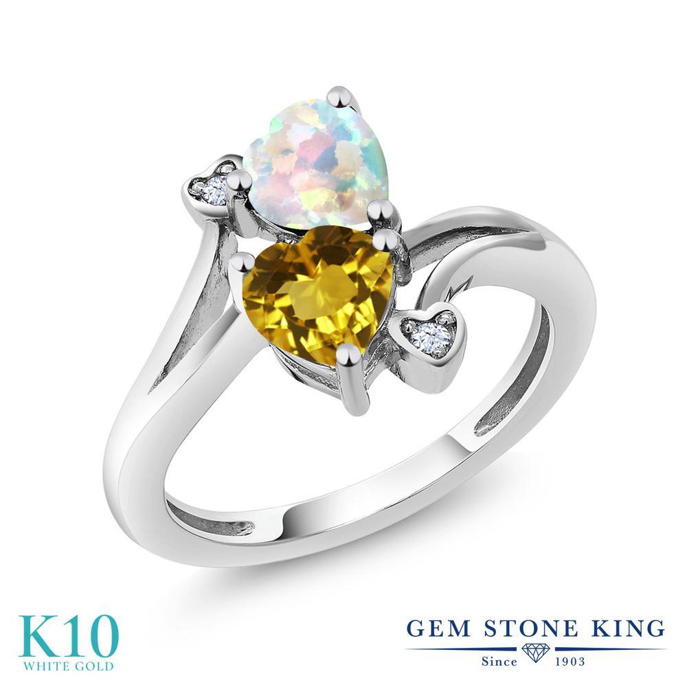 Gem Stone King 1.48カラット 天然 シトリン シミュレイテッド ホワイトオパール 10金 ホワイトゴールド(K10) 指輪 リング レディース ダブルストーン 天然石 11月 誕生石 金属アレルギー対応 誕生日プレゼント