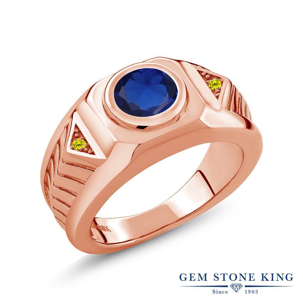 2.53カラット 合成サファイア 指輪 レディース リング 天然 イエローダイヤモンド ピンクゴールド 加工 シルバー925 ブランド おしゃれ 青 大粒 ごつめ 太め 太い ソリティア 金属アレルギー対応