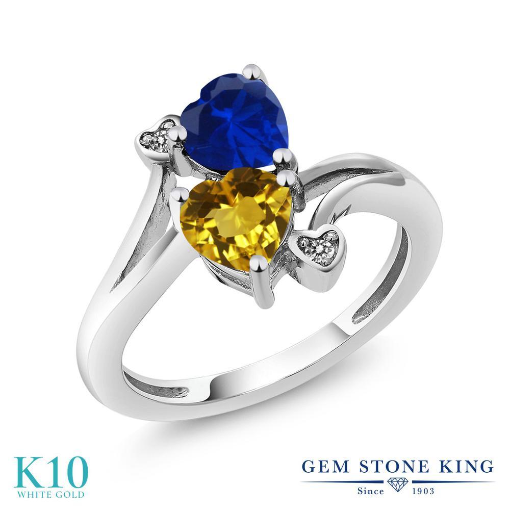 【10%OFF】 Gem Stone King 1.53カラット 天然 シトリン シミュレイテッド サファイア ダイヤモンド 指輪 リング レディース 10金 ホワイトゴールド K10 ダブルストーン 天然石 11月 誕生石 クリスマスプレゼント 女性 彼女 妻 誕生日