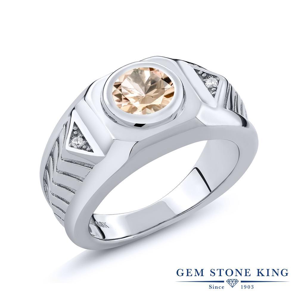 Gem Stone King 1.73カラット 天然モルガナイト(ピーチ) シルバー925 指輪 リング レディース 大粒 シンプル 天然石 誕生石 誕生日プレゼント