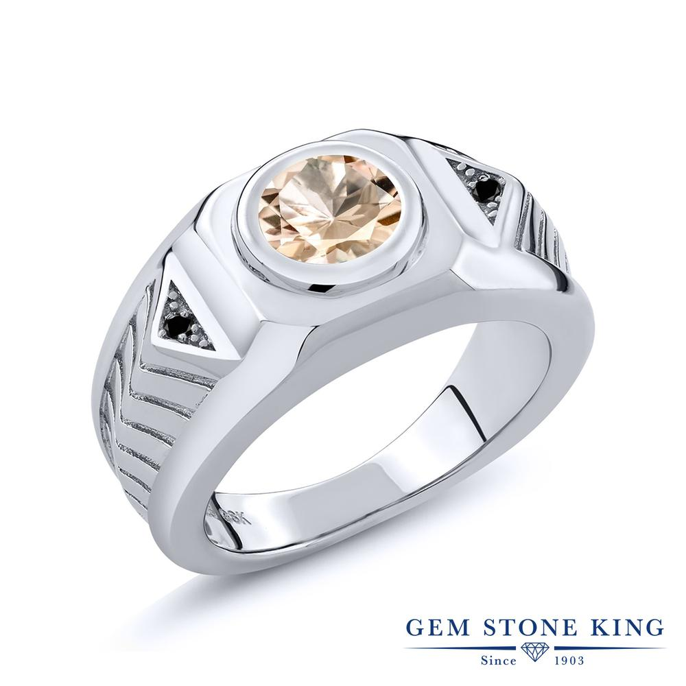 Gem Stone King 1.73カラット 天然モルガナイト(ピーチ) シルバー925 天然ブラックダイヤモンド 指輪 リング レディース 大粒 シンプル 天然石 誕生石 誕生日プレゼント