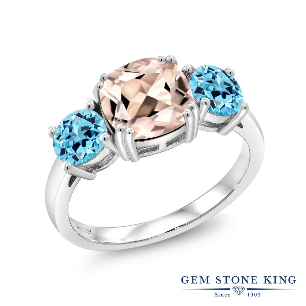 Gem Stone King 2.98カラット 天然モルガナイト(ピーチ) 天然トパーズ(スイスブルー) シルバー925 指輪 リング レディース 大粒 シンプル スリーストーン 天然石 誕生石 金属アレルギー対応 誕生日プレゼント