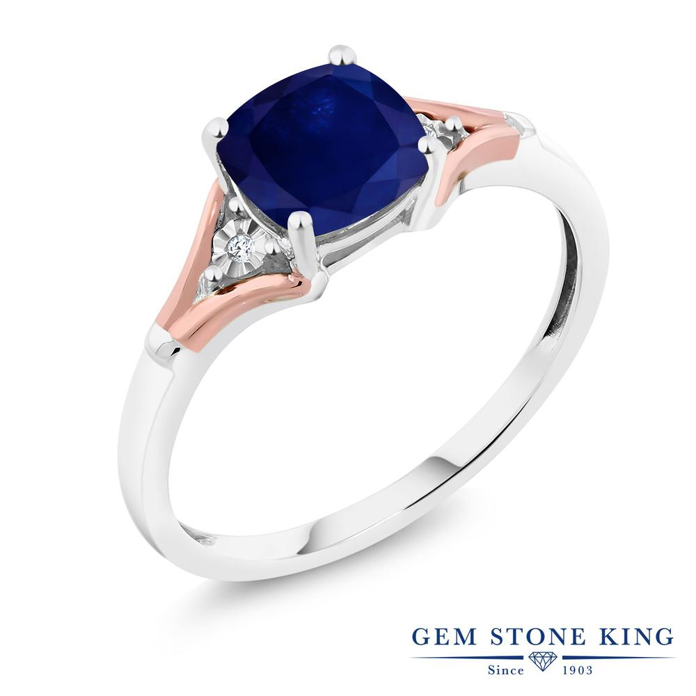 Gem Stone King 2カラット 天然 サファイア 天然 ダイヤモンド 10金 Two Toneゴールド(K10) 指輪 リング レディース 大粒 シンプル ソリティア 天然石 誕生石 金属アレルギー対応 誕生日プレゼント