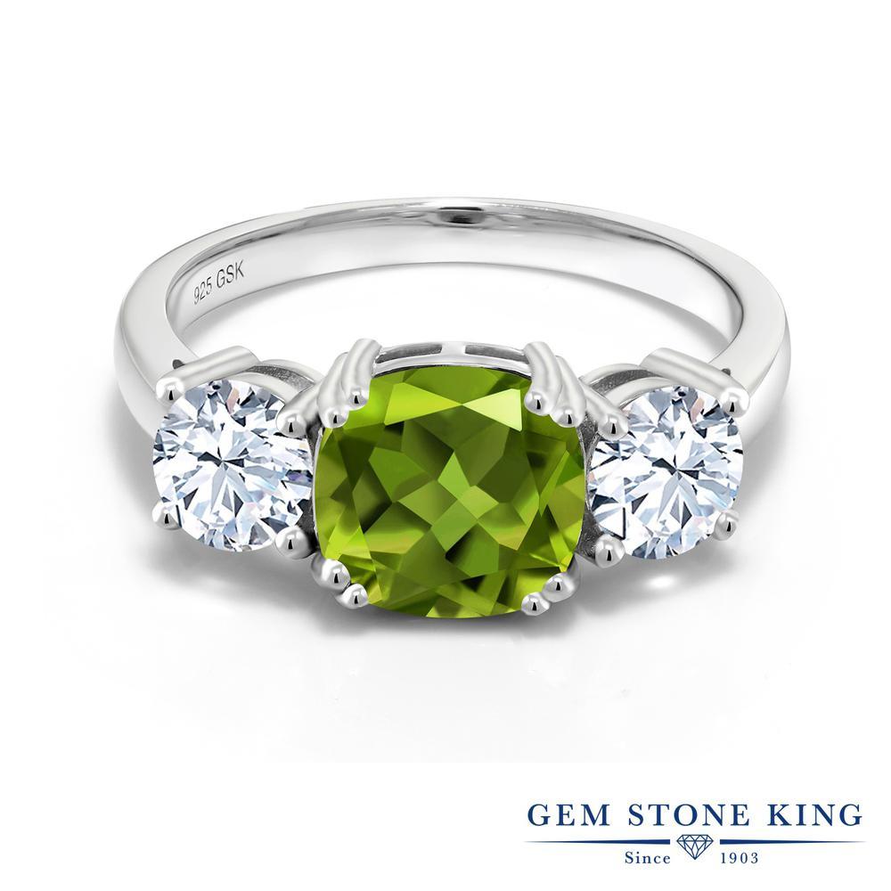 Gem Stone King 3.95カラット 天然石 ペリドット 指輪 リング レディース シルバー925 大粒 シンプル スリーストーン 8月 誕生石 金属アレルギー対応