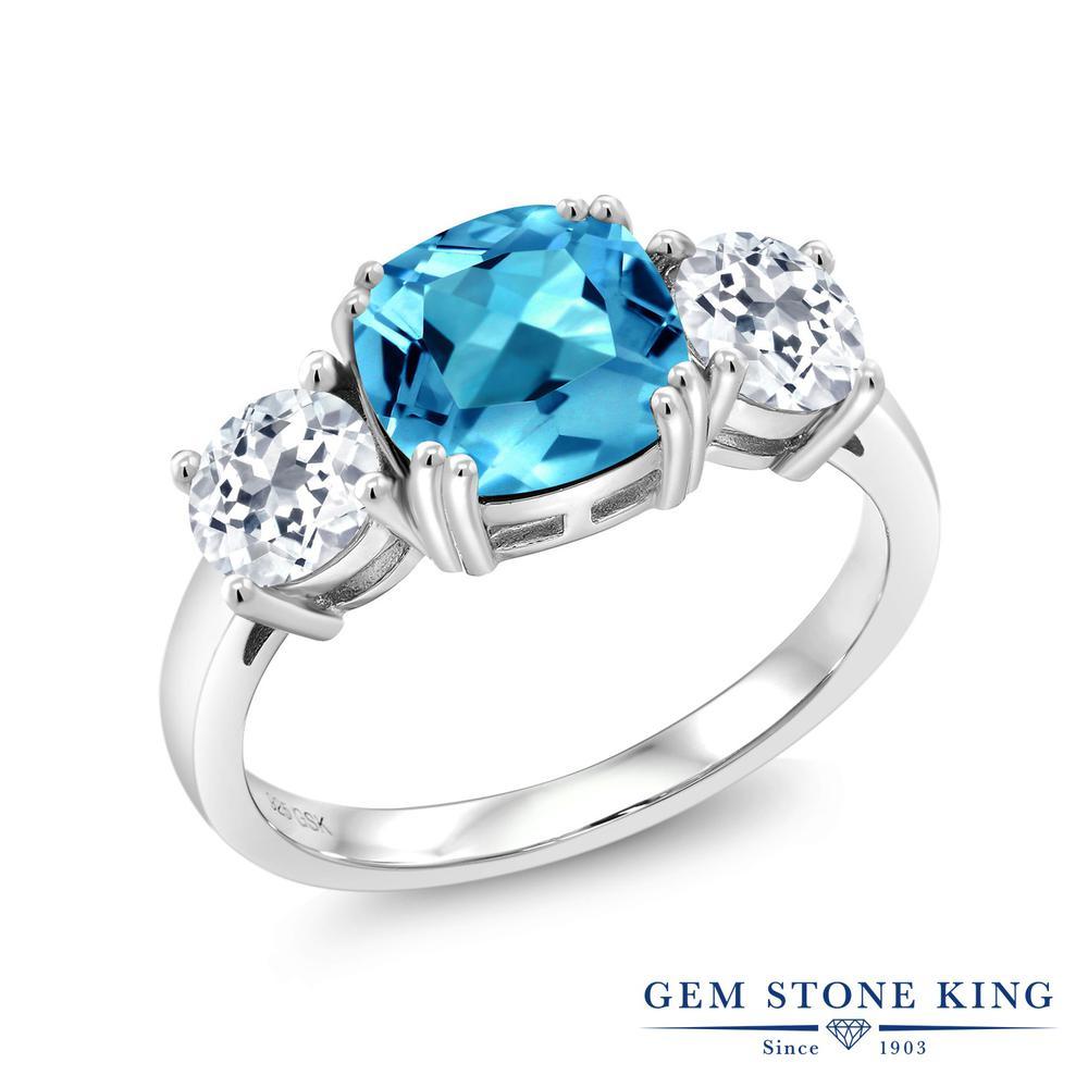 Gem Stone King 3.8カラット 天然 スイスブルートパーズ トパーズ 指輪 リング レディース シルバー925 大粒 シンプル スリーストーン 天然石 11月 誕生石 金属アレルギー対応