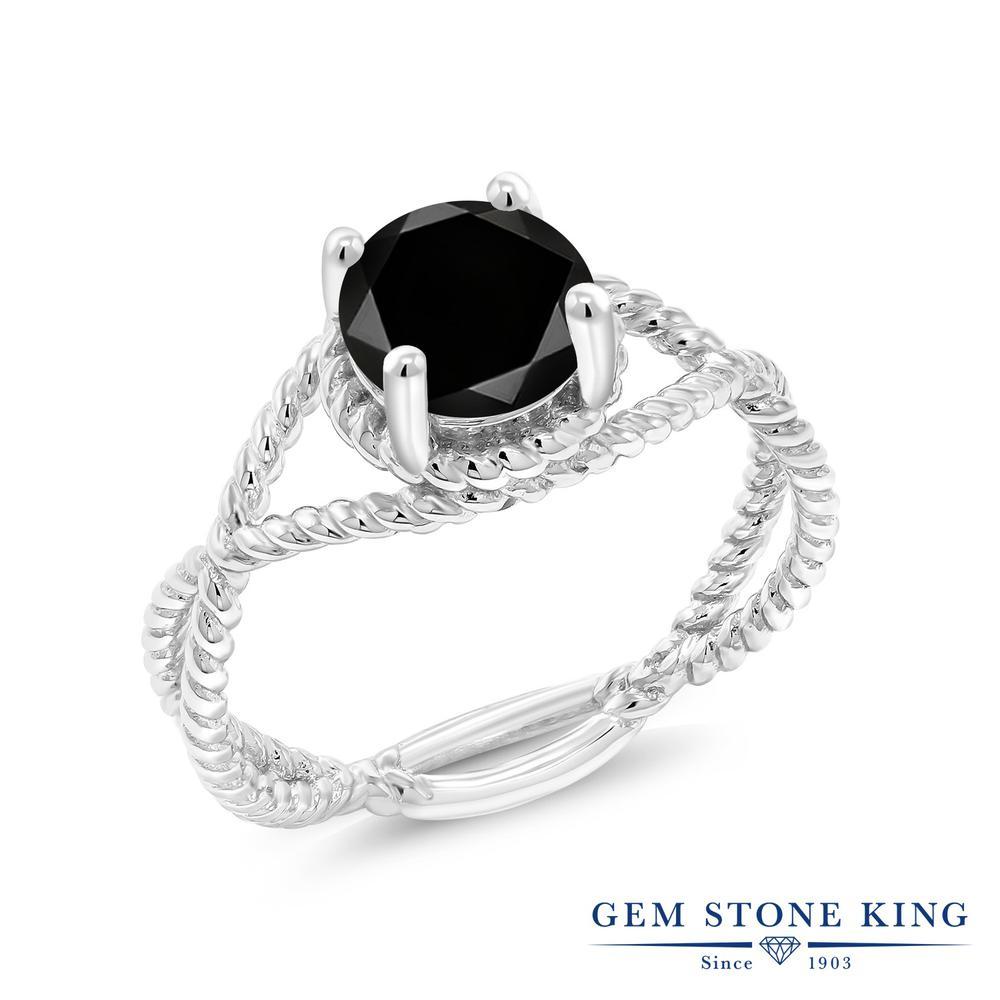 【クーポンで10%OFF】 Gem Stone King 1.35カラット 天然ブラックダイヤモンド シルバー925 指輪 リング レディース ブラック ダイヤ 大粒 一粒 シンプル ソリティア 天然石 4月 誕生石 金属アレルギー対応 誕生日プレゼント