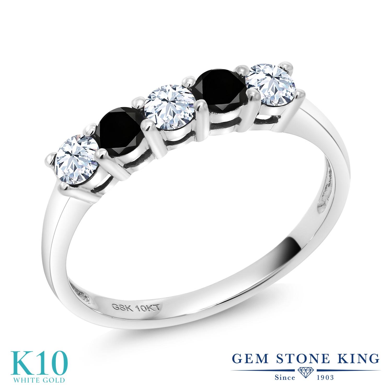 Gem Stone King 0.59カラット 合成ホワイトサファイア (ダイヤのような無色透明) 天然ブラックダイヤモンド 10金 ホワイトゴールド(K10) 指輪 リング レディース 小粒 ハーフエタニティ 金属アレルギー対応 誕生日プレゼント