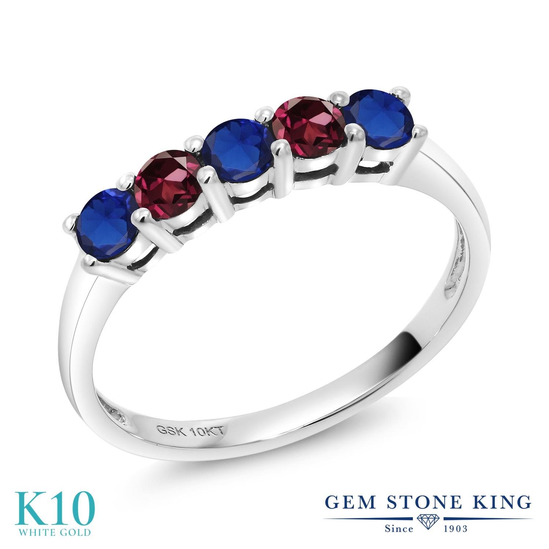 Gem Stone King 0.63カラット シミュレイテッド サファイア 天然 ロードライトガーネット 10金 ホワイトゴールド(K10) 指輪 リング レディース 小粒 バンド 金属アレルギー対応 誕生日プレゼント