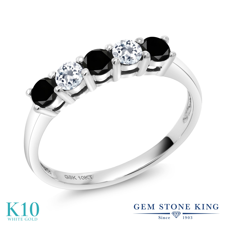 Gem Stone King 0.58カラット 天然ブラックダイヤモンド 天然 トパーズ (無色透明) 10金 ホワイトゴールド(K10) 指輪 リング レディース ブラック ダイヤ 小粒 バンド 天然石 4月 誕生石 金属アレルギー対応 誕生日プレゼント