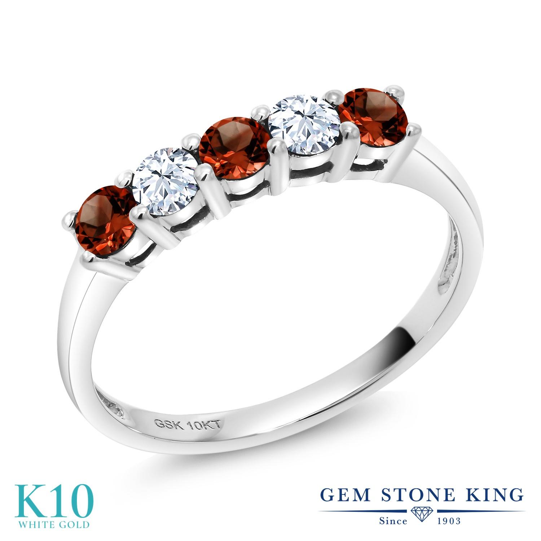 【10%OFF】 Gem Stone King 0.62カラット 天然 ガーネット 合成ホワイトサファイア (ダイヤのような無色透明) 指輪 リング レディース 10金 ホワイトゴールド K10 小粒 バンド 天然石 1月 誕生石 クリスマスプレゼント 女性 彼女 妻 誕生日