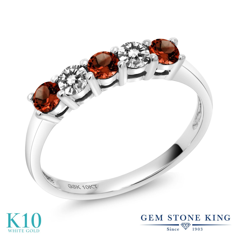 Gem Stone King 0.56カラット 天然ガーネット 10金 ホワイトゴールド(K10) 天然ダイヤモンド 指輪 リング レディース 小粒 天然石 誕生石 誕生日プレゼント