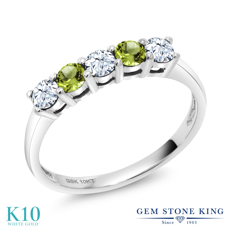 Gem Stone King 0.63カラット 合成ホワイトサファイア (ダイヤのような無色透明) 天然石 ペリドット 10金 ホワイトゴールド(K10) 指輪 リング レディース 小粒 ハーフエタニティ 金属アレルギー対応 誕生日プレゼント