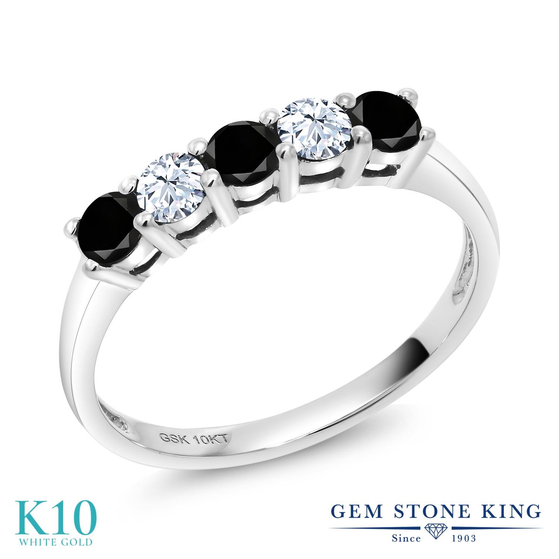 Gem Stone King 0.56カラット 天然ブラックダイヤモンド 合成ホワイトサファイア (ダイヤのような無色透明) 10金 ホワイトゴールド(K10) 指輪 リング レディース ブラック ダイヤ 小粒 バンド 天然石 4月 誕生石 金属アレルギー対応 誕生日プレゼント