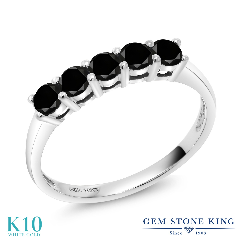 Gem Stone King 0.50カラット 天然ブラックダイヤモンド 10金 ホワイトゴールド(K10) 指輪 リング レディース 小粒 天然石 誕生石 誕生日プレゼント