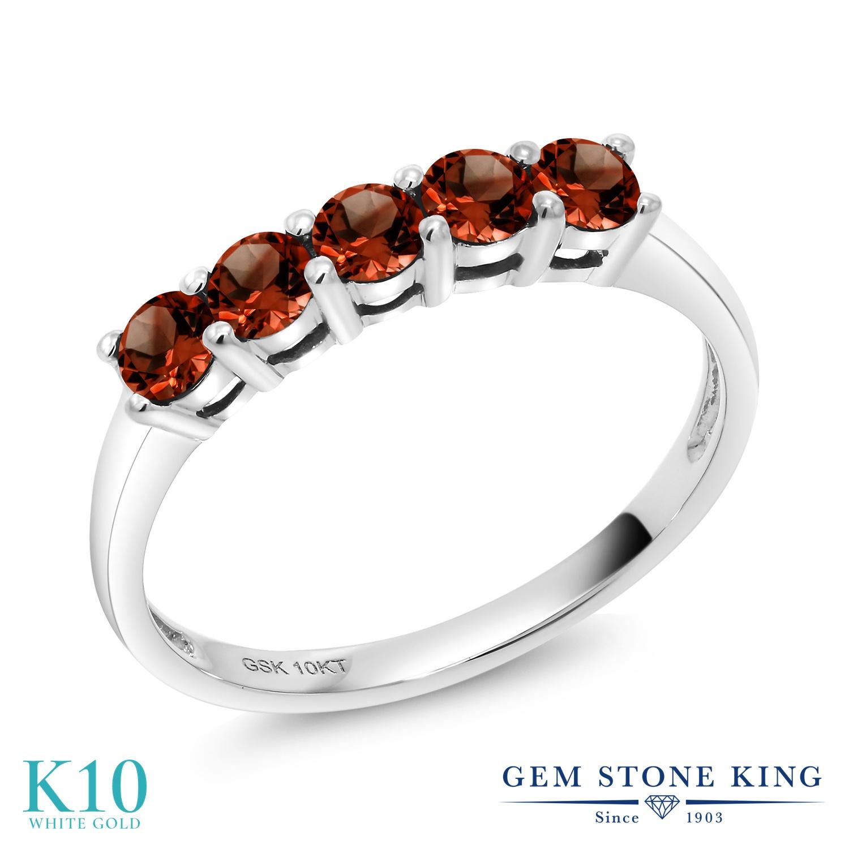 Gem Stone King 0.6カラット 天然 ガーネット 10金 ホワイトゴールド(K10) 指輪 リング レディース 小粒 バンド 天然石 1月 誕生石 金属アレルギー対応 誕生日プレゼント