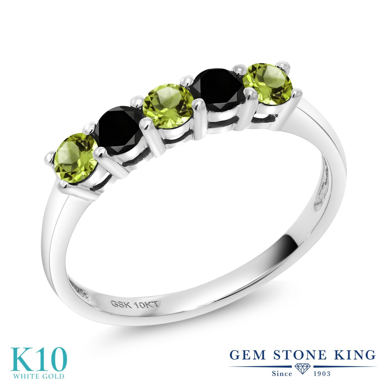 Gem Stone King 0.56カラット 天然石 ペリドット 天然ブラックダイヤモンド 10金 ホワイトゴールド(K10) 指輪 リング レディース 小粒 バンド 天然石 8月 誕生石 金属アレルギー対応 誕生日プレゼント