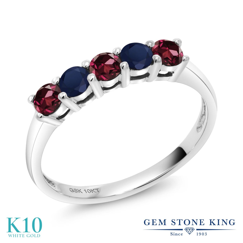 Gem Stone King 0.62カラット 天然 ロードライトガーネット 天然 サファイア 10金 ホワイトゴールド(K10) 指輪 リング レディース 小粒 バンド 天然石 金属アレルギー対応 誕生日プレゼント