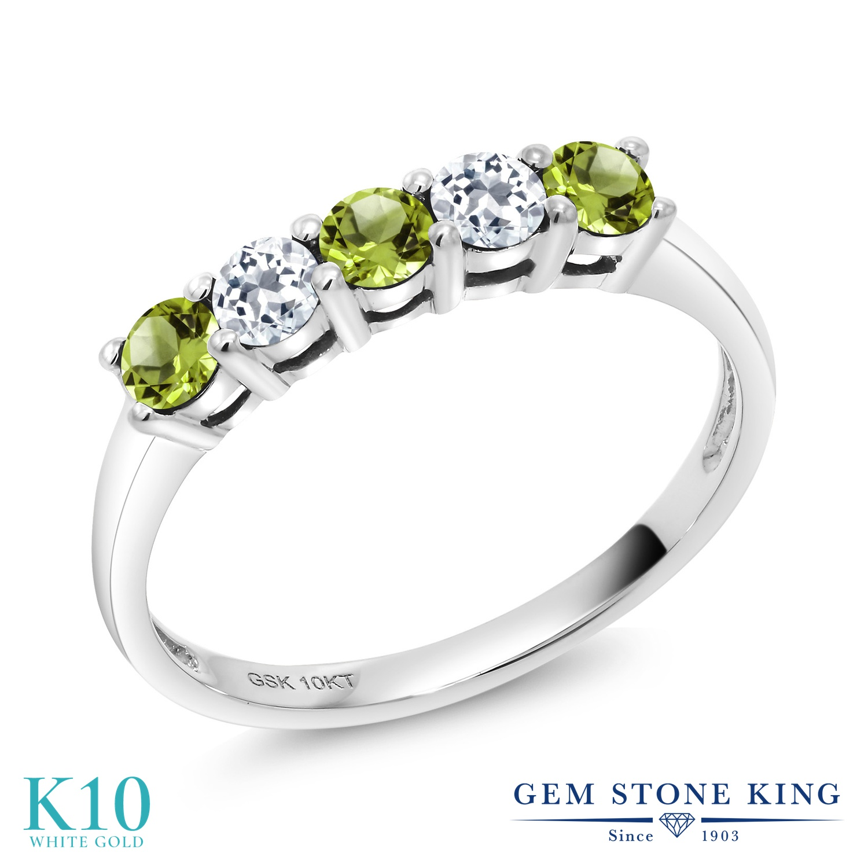 Gem Stone King 0.64カラット 天然石 ペリドット 天然 トパーズ (無色透明) 10金 ホワイトゴールド(K10) 指輪 リング レディース 小粒 バンド 天然石 8月 誕生石 金属アレルギー対応 誕生日プレゼント