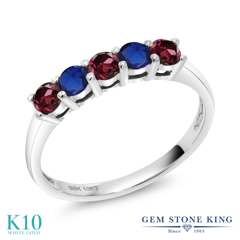 【10%OFF】 Gem Stone King 0.62カラット 天然 ロードライトガーネット シミュレイテッド サファイア 指輪 リング レディース 10金 ホワイトゴールド K10 小粒 バンド 天然石 クリスマスプレゼント 女性 彼女 妻 誕生日