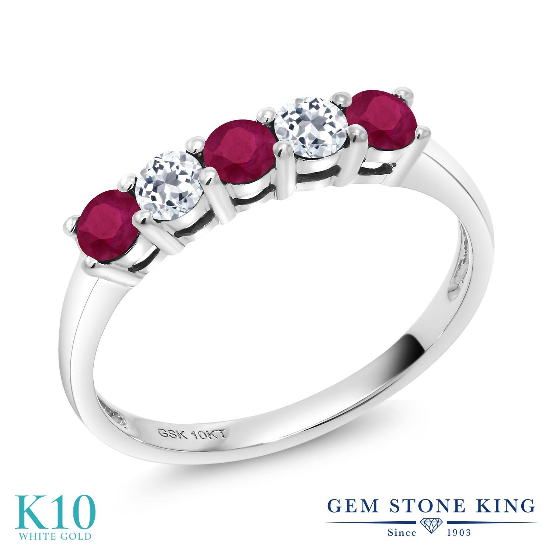 Gem Stone King 0.7カラット 天然 ルビー 天然 トパーズ (無色透明) 10金 ホワイトゴールド(K10) 指輪 リング レディース 小粒 バンド 天然石 7月 誕生石 金属アレルギー対応 誕生日プレゼント