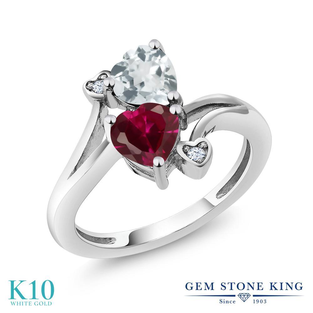 【10%OFF】 Gem Stone King 1.66カラット 合成ルビー 天然 アクアマリン 指輪 リング レディース 10金 ホワイトゴールド K10 ダブルストーン クリスマスプレゼント 女性 彼女 妻 誕生日