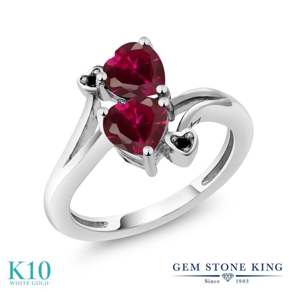 【10%OFF】 Gem Stone King 1.96カラット 合成ルビー ブラックダイヤモンド 指輪 リング レディース 10金 ホワイトゴールド K10 ダブルストーン クリスマスプレゼント 女性 彼女 妻 誕生日