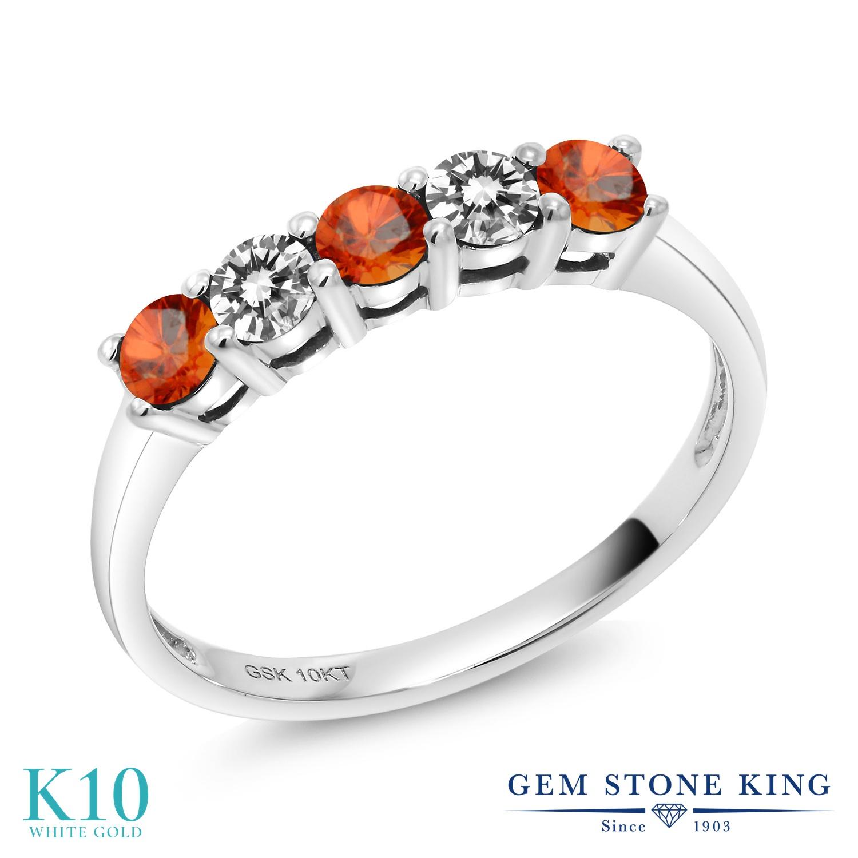 Gem Stone King 0.59カラット 天然 オレンジサファイア 天然 ダイヤモンド 10金 ホワイトゴールド(K10) 指輪 リング レディース 小粒 バンド 天然石 9月 誕生石 金属アレルギー対応 誕生日プレゼント