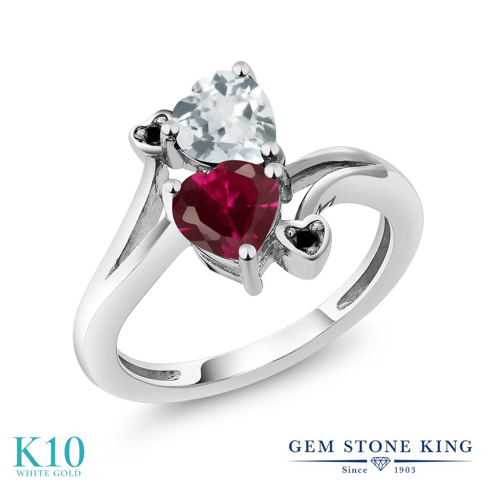 【10%OFF】 Gem Stone King 1.67カラット 合成ルビー 天然 アクアマリン ブラックダイヤモンド 指輪 リング レディース 10金 ホワイトゴールド K10 ダブルストーン クリスマスプレゼント 女性 彼女 妻 誕生日