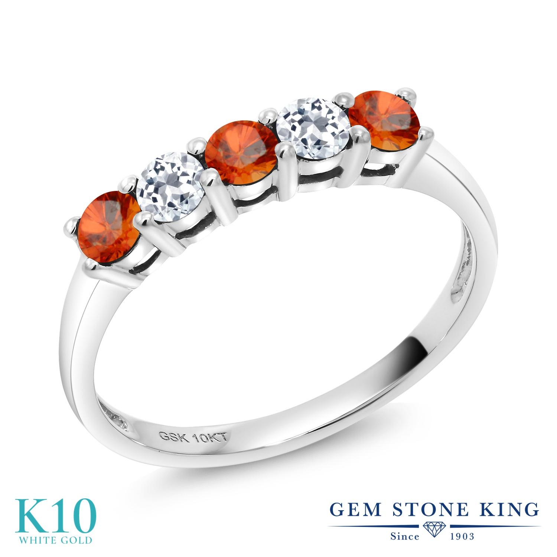 【10%OFF】 Gem Stone King 0.67カラット 天然 オレンジサファイア トパーズ 指輪 リング レディース 10金 ホワイトゴールド K10 小粒 バンド 天然石 9月 誕生石 クリスマスプレゼント 女性 彼女 妻 誕生日