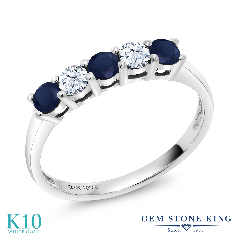 【10%OFF】 Gem Stone King 0.65カラット 天然 サファイア 合成ホワイトサファイア (ダイヤのような無色透明) 指輪 リング レディース 10金 ホワイトゴールド K10 小粒 バンド 天然石 9月 誕生石 クリスマスプレゼント 女性 彼女 妻 誕生日