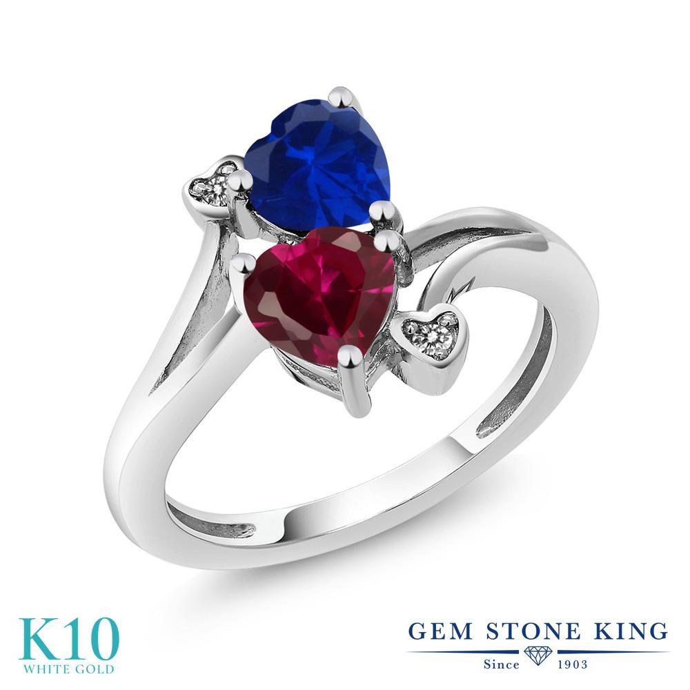 Gem Stone King 1.8カラット 合成ルビー シミュレイテッド サファイア 天然 ダイヤモンド 10金 ホワイトゴールド(K10) 指輪 リング レディース ダブルストーン 金属アレルギー対応 誕生日プレゼント