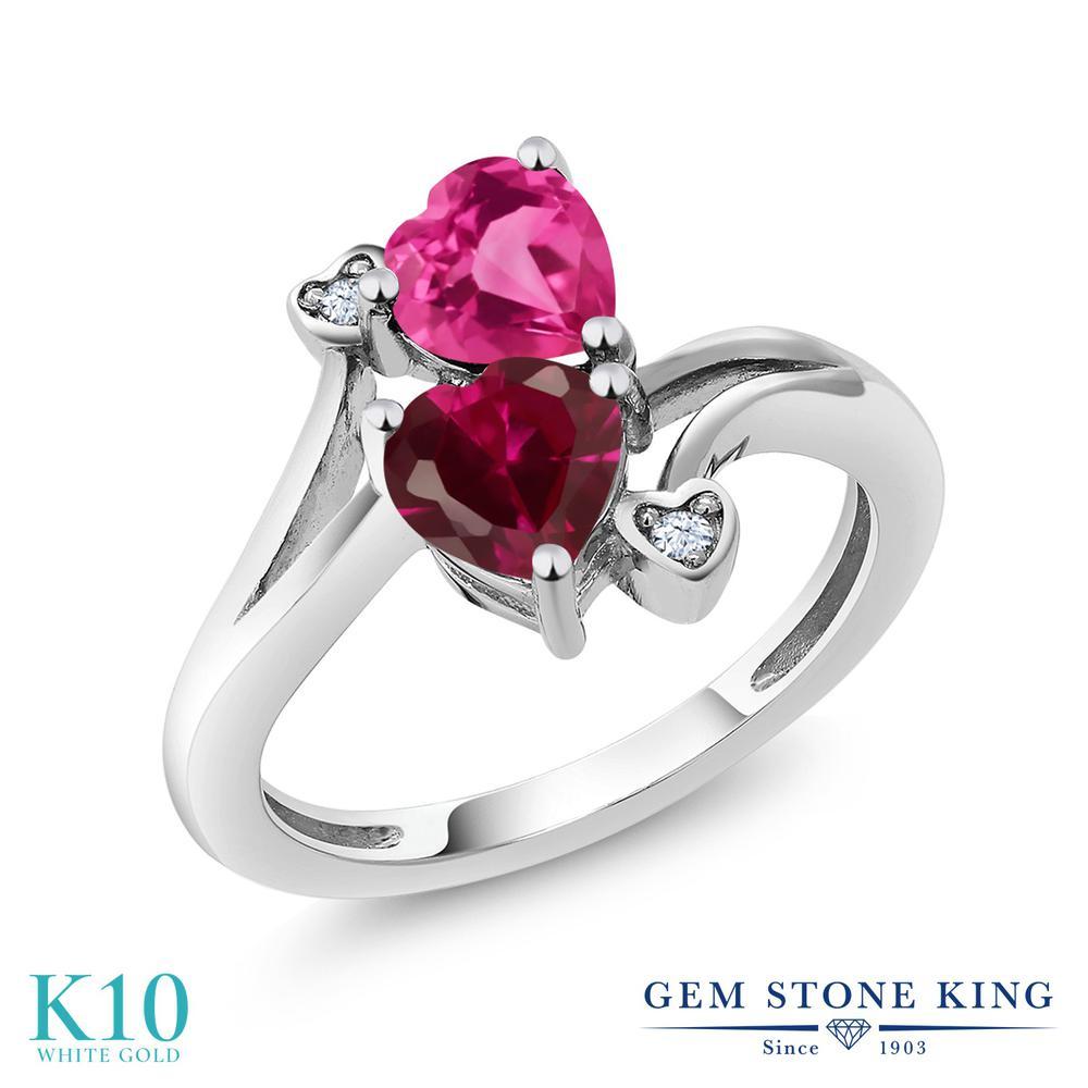 Gem Stone King 1.79カラット 合成ルビー 合成ピンクサファイア 10金 ホワイトゴールド(K10) 指輪 リング レディース ダブルストーン 金属アレルギー対応 誕生日プレゼント