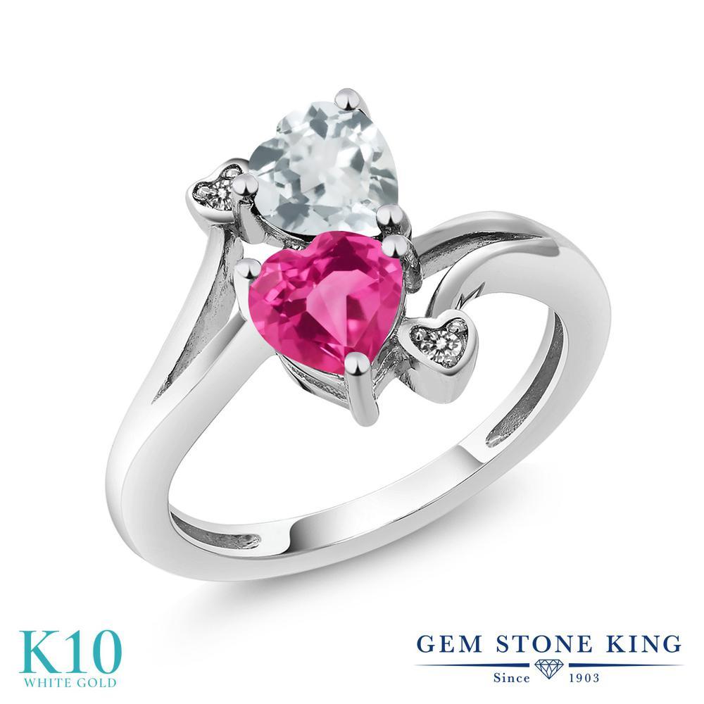 Gem Stone King 1.5カラット 合成ピンクサファイア 天然 アクアマリン 天然 ダイヤモンド 10金 ホワイトゴールド(K10) 指輪 リング レディース ダブルストーン 金属アレルギー対応 誕生日プレゼント