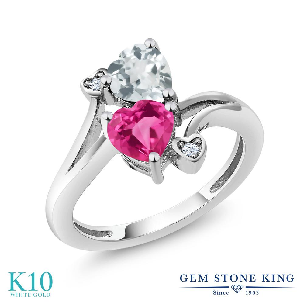 Gem Stone King 1.5カラット 合成ピンクサファイア 天然 アクアマリン 10金 ホワイトゴールド(K10) 指輪 リング レディース ダブルストーン 金属アレルギー対応 誕生日プレゼント
