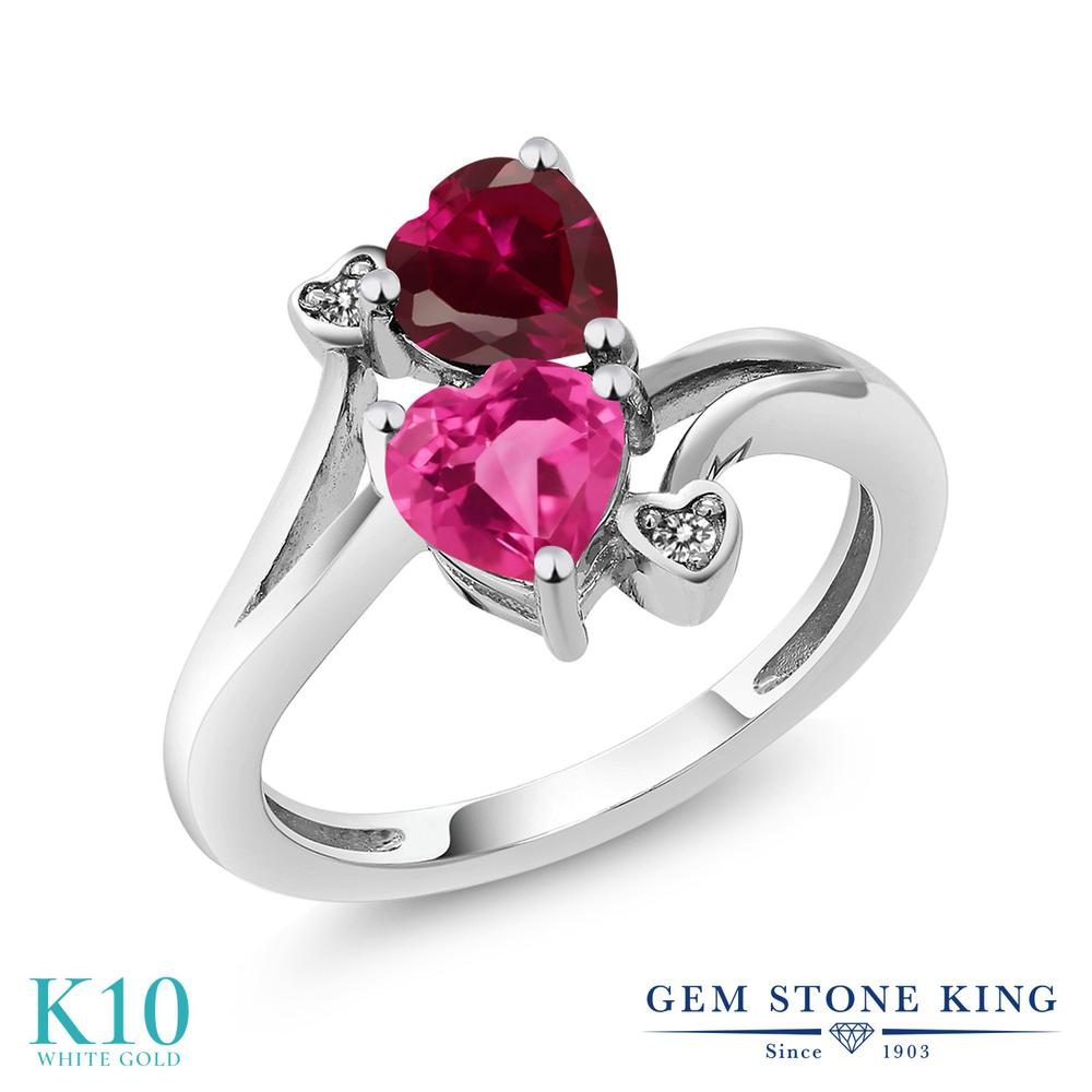 【10%OFF】 Gem Stone King 1.8カラット 合成ピンクサファイア 合成ルビー 天然 ダイヤモンド 指輪 リング レディース 10金 ホワイトゴールド K10 ダブルストーン クリスマスプレゼント 女性 彼女 妻 誕生日