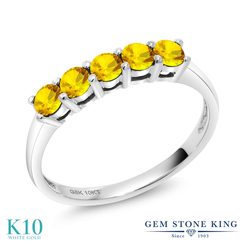 【10%OFF】 Gem Stone King 0.67カラット 天然 イエローサファイア 指輪 リング レディース 10金 ホワイトゴールド K10 小粒 バンド 天然石 9月 誕生石 クリスマスプレゼント 女性 彼女 妻 誕生日