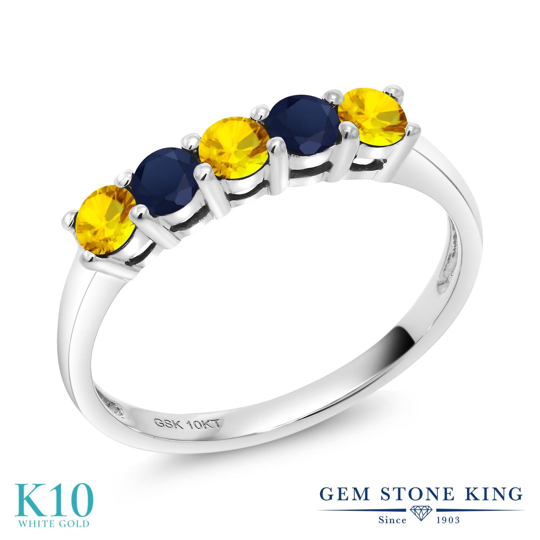 Gem Stone King 0.66カラット 天然 イエローサファイア 天然 サファイア 10金 ホワイトゴールド(K10) 指輪 リング レディース 小粒 バンド 天然石 9月 誕生石 金属アレルギー対応 誕生日プレゼント