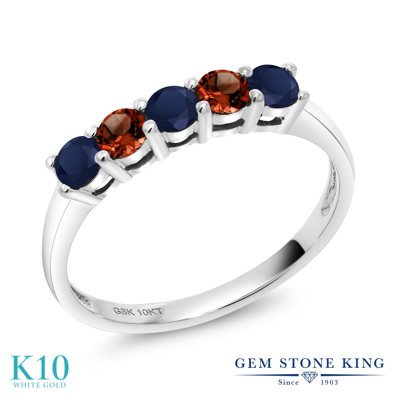 【10%OFF】 Gem Stone King 0.63カラット 天然 サファイア ガーネット 指輪 リング レディース 10金 ホワイトゴールド K10 小粒 バンド 天然石 9月 誕生石 クリスマスプレゼント 女性 彼女 妻 誕生日