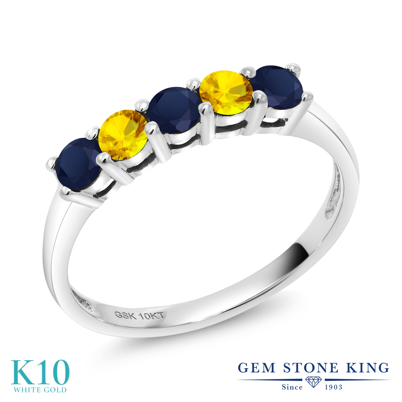 Gem Stone King 0.66カラット 天然 サファイア 天然 イエローサファイア 10金 ホワイトゴールド(K10) 指輪 リング レディース 小粒 バンド 天然石 9月 誕生石 金属アレルギー対応 誕生日プレゼント