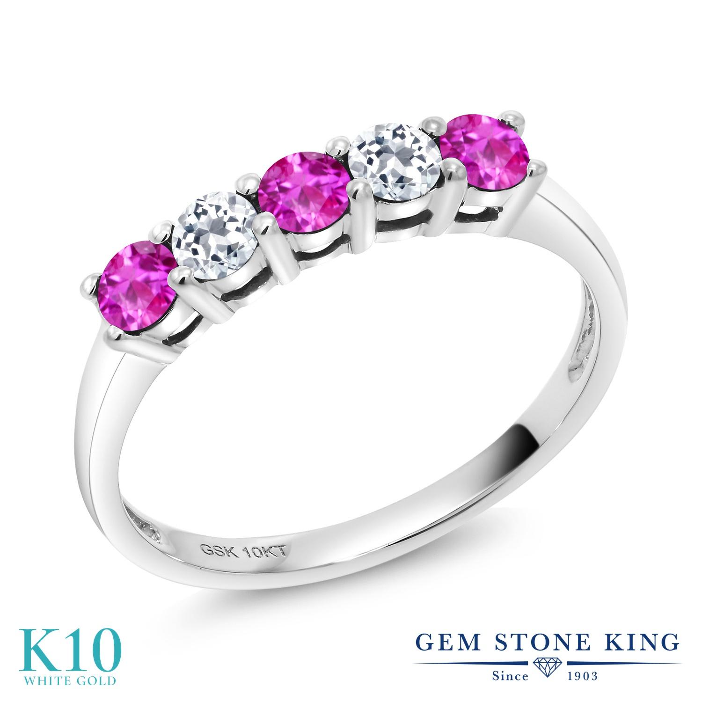 【10%OFF】 Gem Stone King 0.67カラット ピンクサファイア 天然 トパーズ 指輪 リング レディース 10金 ホワイトゴールド K10 小粒 バンド 9月 誕生石 クリスマスプレゼント 女性 彼女 妻 誕生日